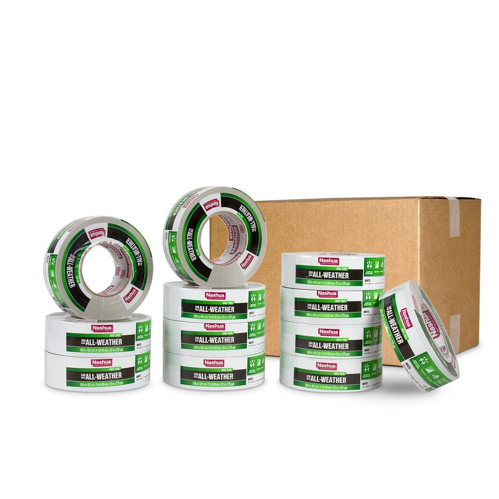 Nashua Tape 1.89 in. x 60 yd. 398 All-Weather HVAC Duct Tape in White Pro Pack (12-Pack)