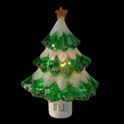 5.5 in. 1-Bulb Night Light Green Beaded Frosted Christmas Tree