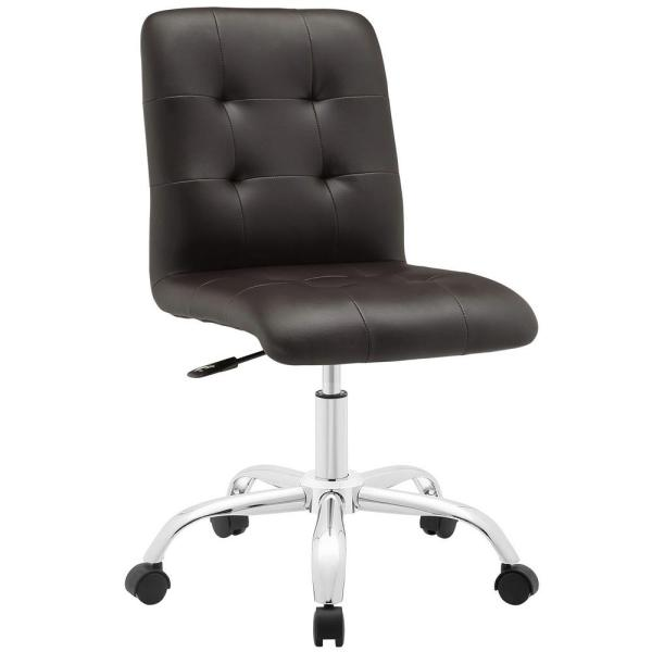 MODWAY Prim Armless Mid Back Office Chair in Brown EEI-1533-BRN