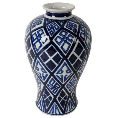 Valora 8 in. x 13 in. Blue and White Decorative Vase