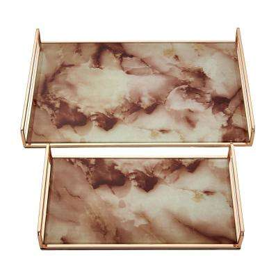 Rose Gold Marbled Trays (Set of 2)