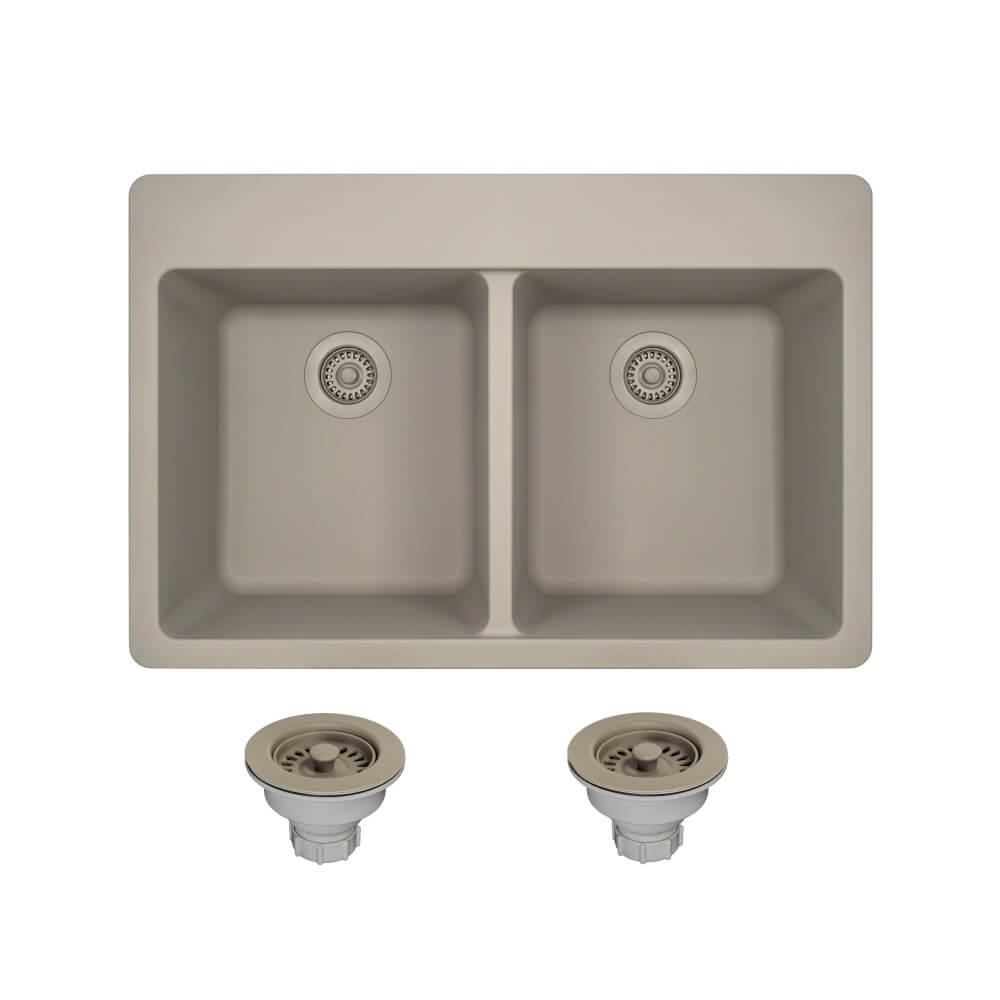 MR Direct Drop-in Granite Composite 33 in. 5-Hole Equal Double ...