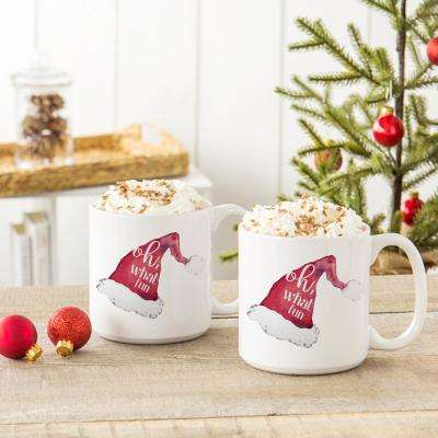 Oh What Fun Santa Hat 3.9 in. x 4.1 in. White Ceramic Christmas Coffee Mugs