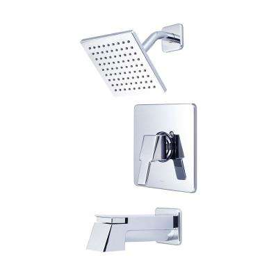 i3 1-Handle Tub and Shower Trim Kit in Polished Chrome with 6 in. Sqaure Showerhead and Ext Spout (Valve Not Included)