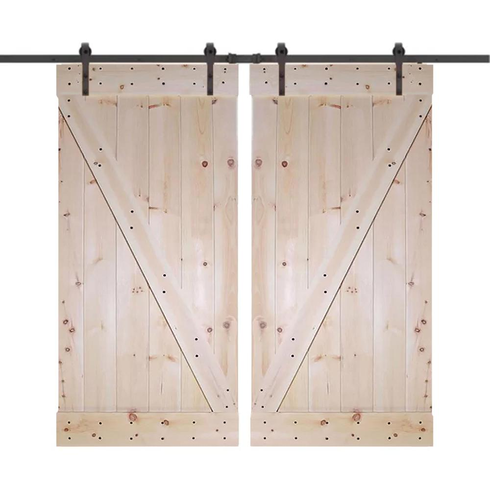 Unfinished Knotty Pine Wood Double Sliding Barn Door With Clic Bent Strap Black Hardware Kit