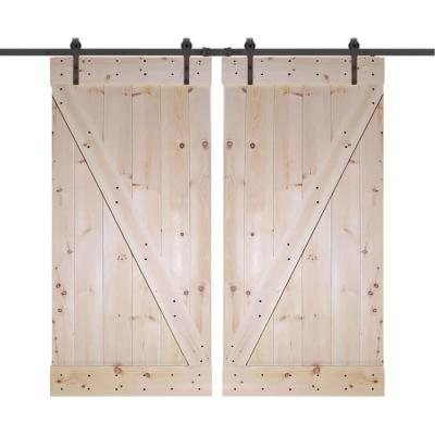 60 in. x 84 in. Unfinished Knotty Pine Wood Double Sliding Barn Door with Classic Bent Strap Black Hardware Kit