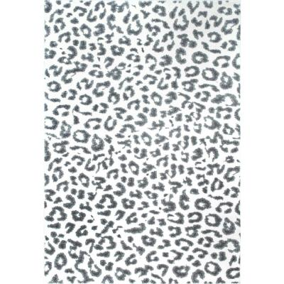 Leopard Print Gray 8 ft. x 10 ft. Area Rug