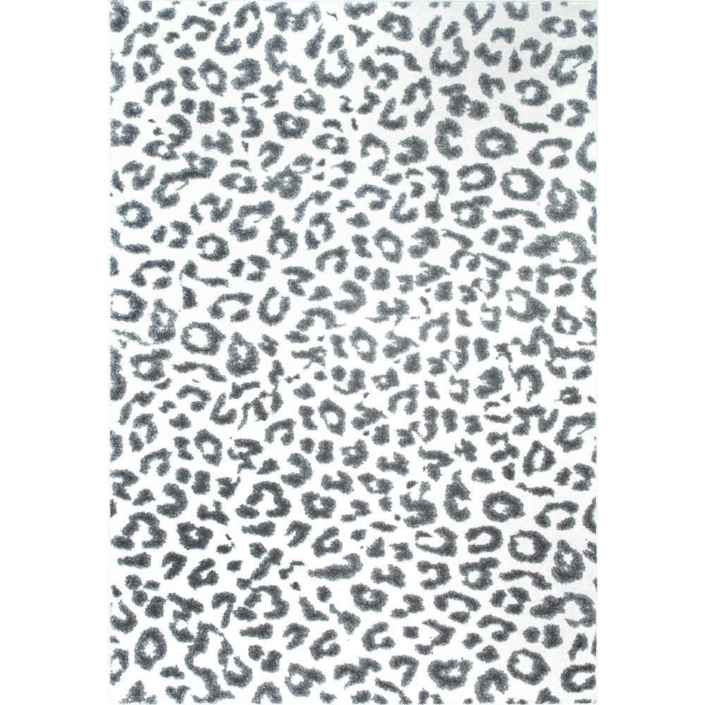 nuloom leopard print grey 9 ft x 12 ft area rug rzbd61a. Black Bedroom Furniture Sets. Home Design Ideas