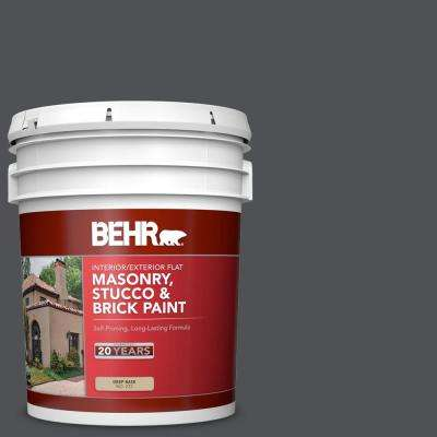 5 gal. #BXC-30 Black Space Flat Interior/Exterior Masonry, Stucco and Brick Paint