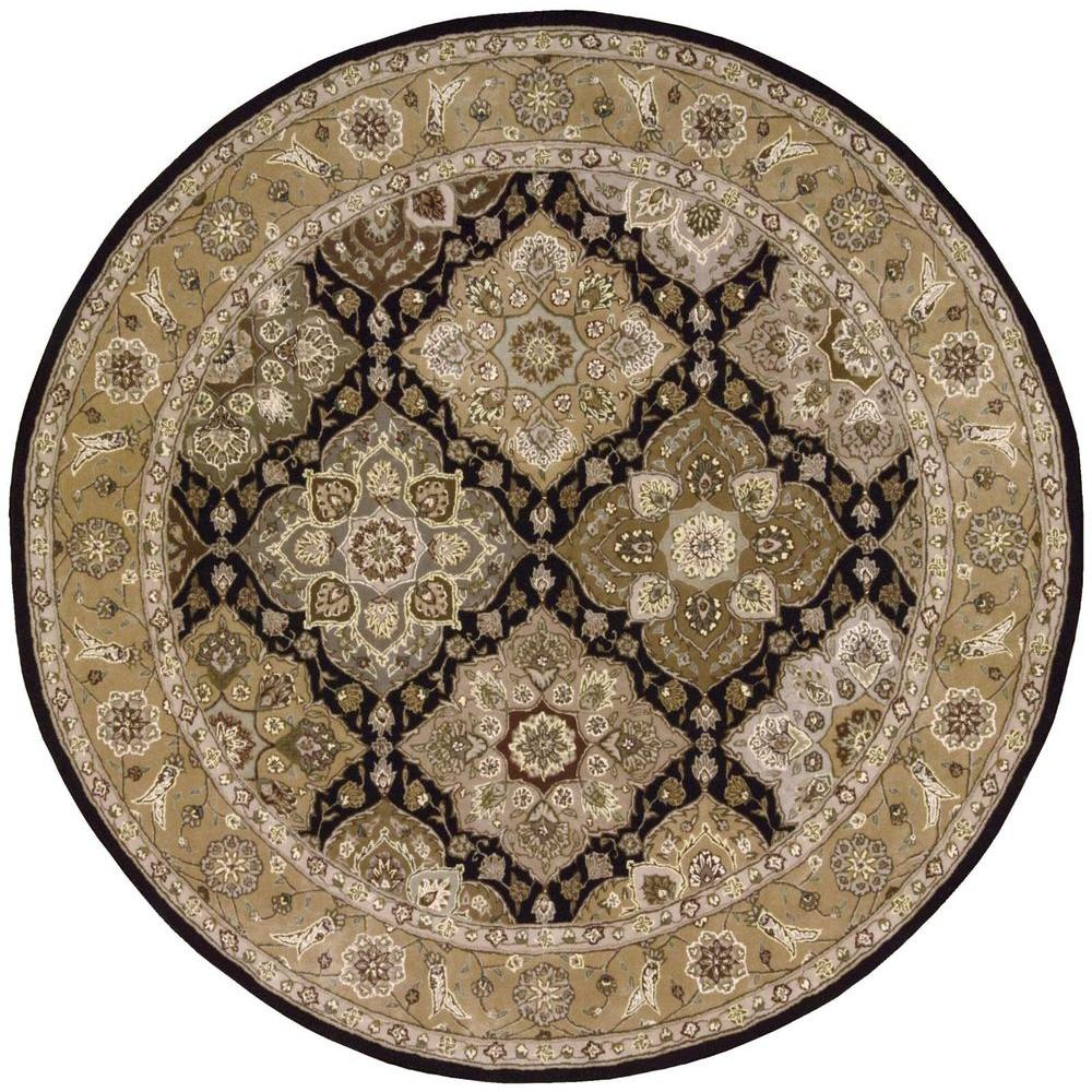 Nourison 2000 Black 6 ft. x 6 ft. Round Area Rug