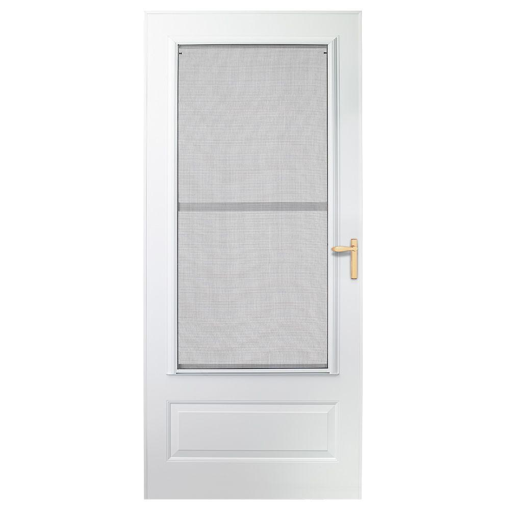 EMCO 36 in. x 78 in. 300 Series White Universal Triple-Track Aluminum Storm Door with Brass Hardware