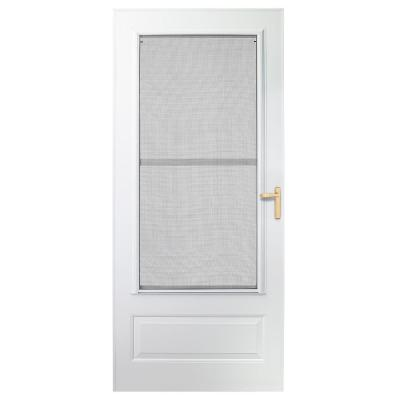 36 in. x 78 in. 300 Series White Universal Triple-Track Aluminum Storm Door with Brass Hardware