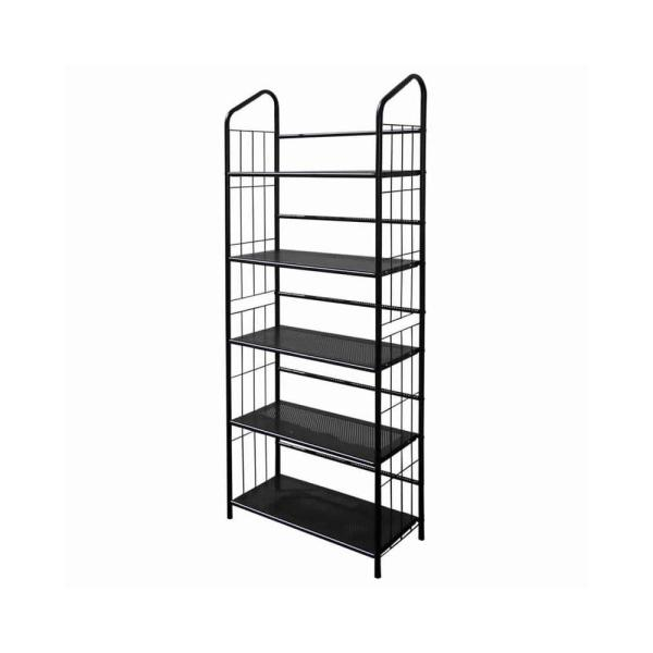 Industrial Style 64 in. H Black 5-Tier Open Frame Metal Bookshelf