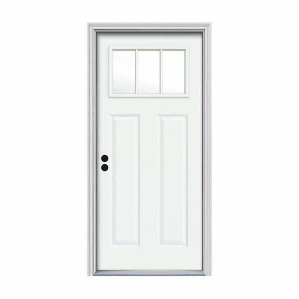 32 in. x 80 in. 3 Lite Craftsman White Painted Steel Prehung Right-Hand Inswing Front Door w/Brickmould