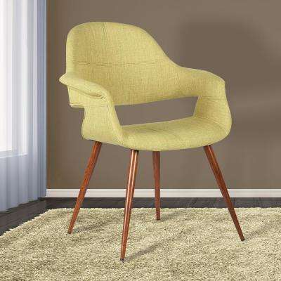 Phoebe 33 in. Green Fabric and Walnut Wood Finish Mid-Century Dining Chair