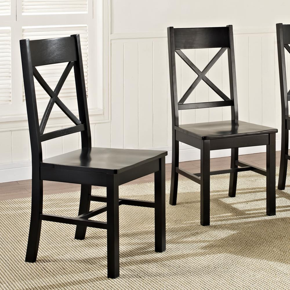 Walker Edison Furniture Company Millwright Antique Black Wood Dining Chair Set Of 2 Hdhw2bl