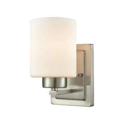 Summit Place 1-Light Brushed Nickel With Opal White Glass Bath Light