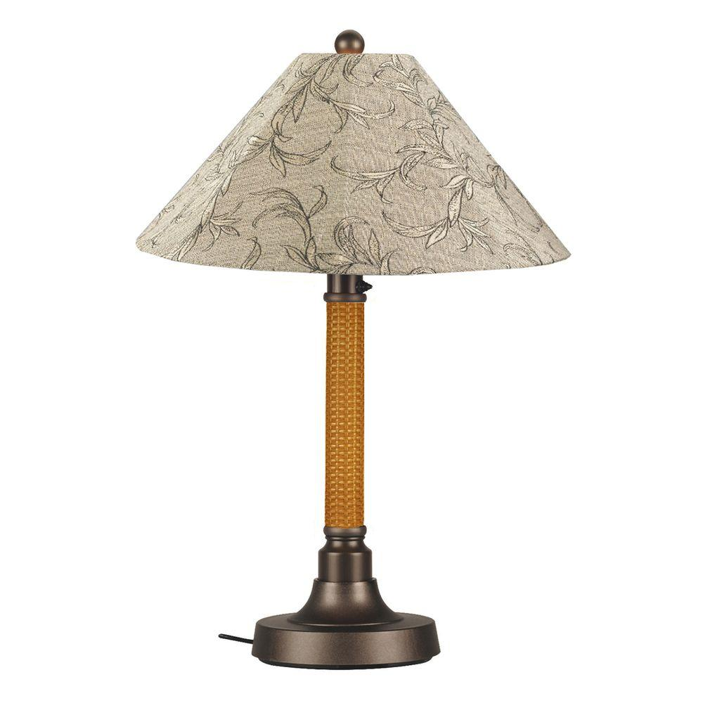 Bahama Weave 34 in. Mocha Cream Outdoor Table Lamp with Bessemer