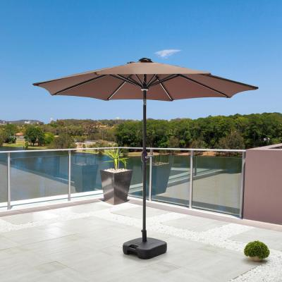 8.8 ft. Solar-Powered Light-UP Tilt Market Umbrella With Base in Brown