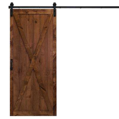 36 in. x 84 in. Classic X Walnut Alder Wood Interior Barn Door Slab with Sliding Door Hardware Kit
