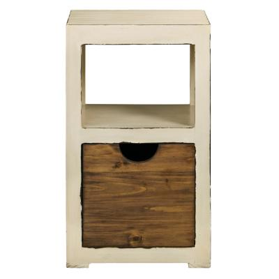 Miguel Distressed White Bunching Storage Display