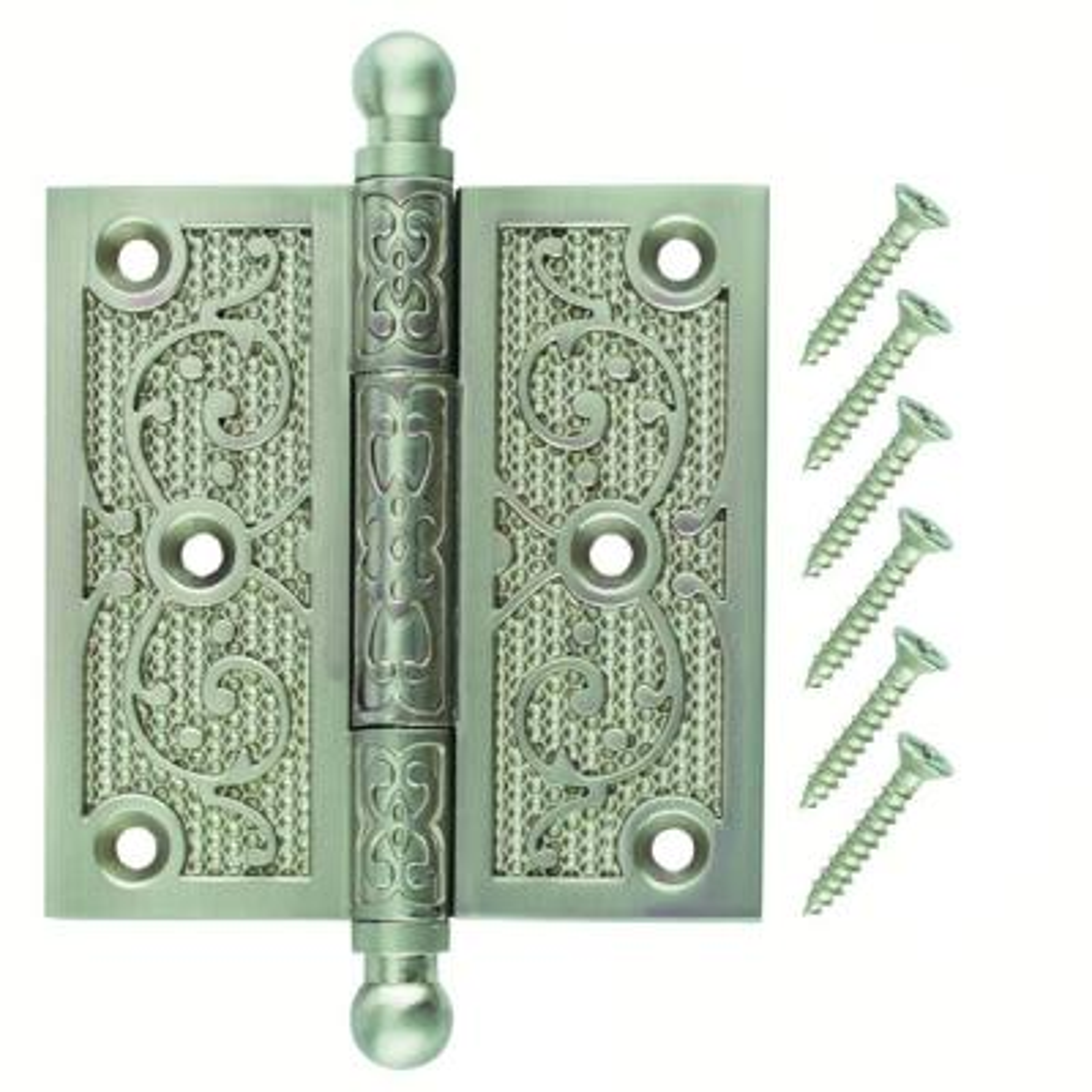 3-1/2 in. Satin Nickel Decorative Square Corner Door Hinge with Finial