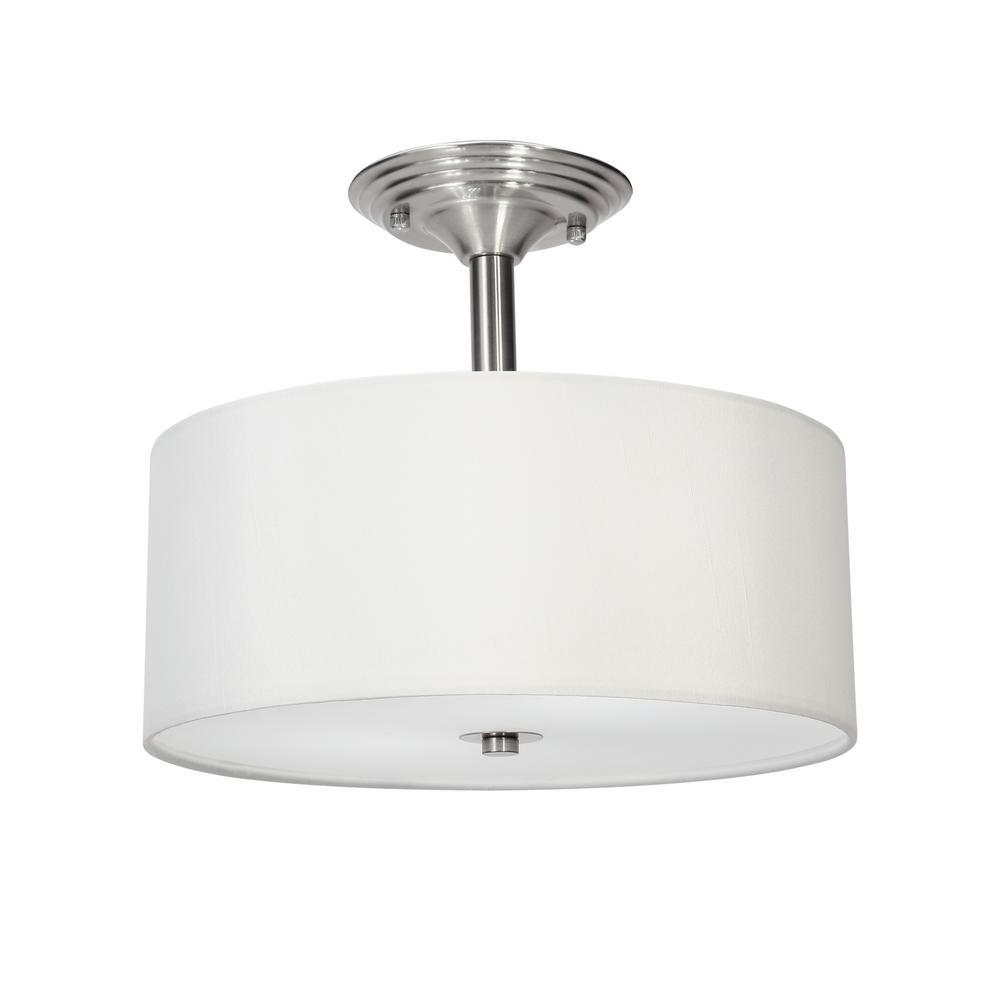 Merra 13 in. 2-Light Brushed Nickel Semi-Flush Mount Light ...
