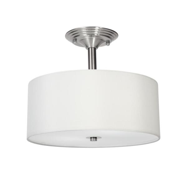 13 in. 2-Light Brushed Nickel Semi-Flush Mount Light with Fabric Drum Shade