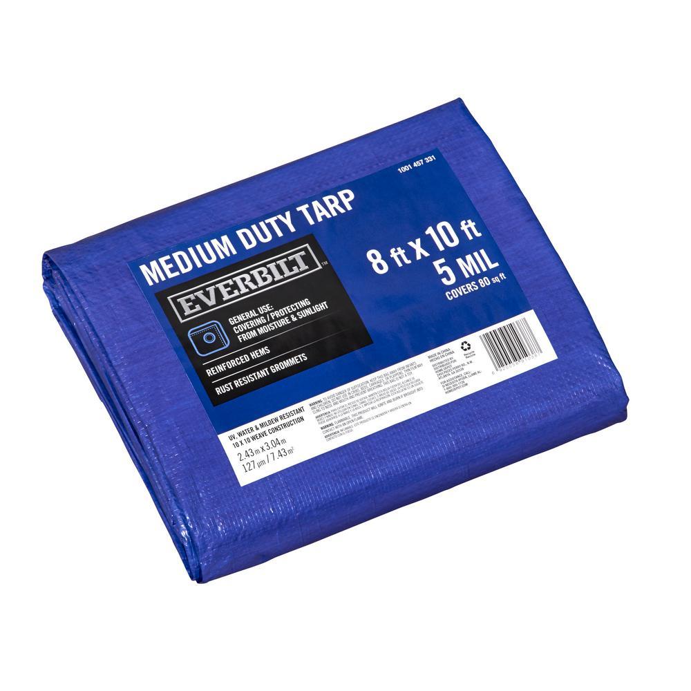 8 ft. x 10 ft. Blue Medium Duty Tarp