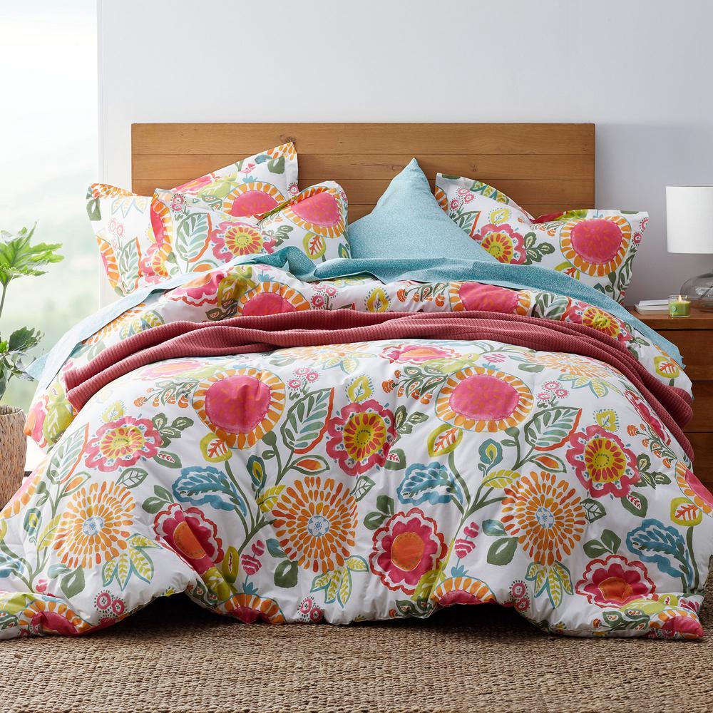 The Company Store LoftHome Suri Multicolored Floral Cotton Percale King Comforter