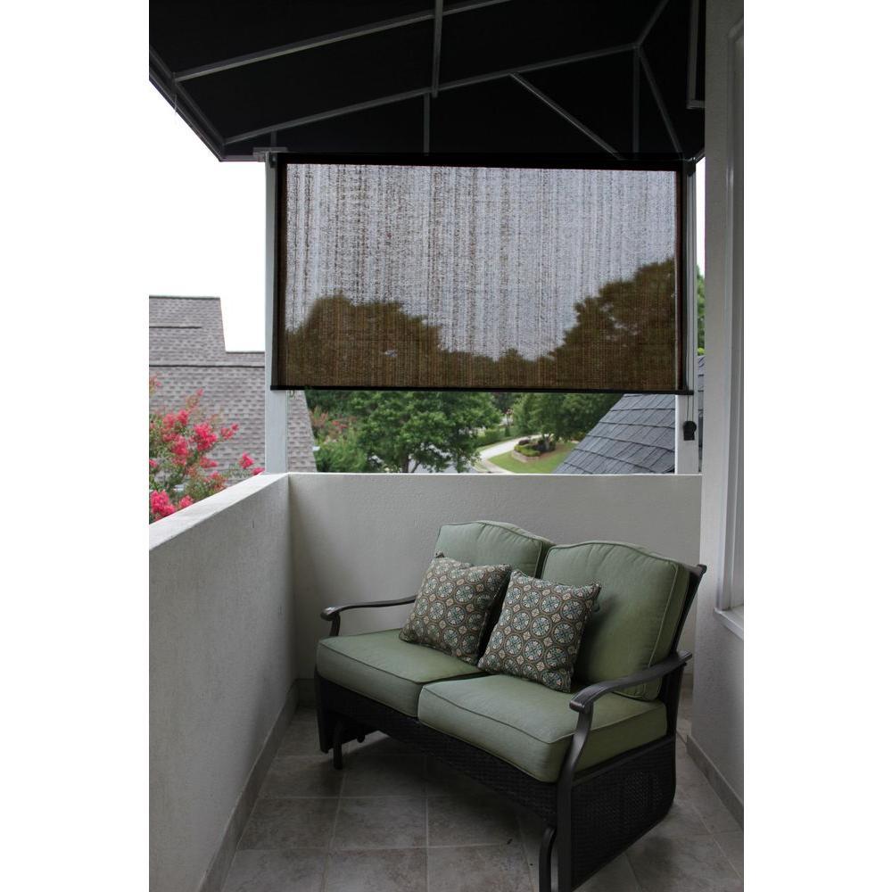 Radiance Espresso Stripe Montecito Fabric Exterior Roller Sun Shade - 72 in. W x 72 in. L