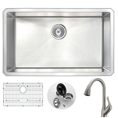 VANGUARD Undermount Stainless Steel 30 in. Single Bowl Kitchen Sink and Faucet Set with Accent Faucet in Brushed Nickel
