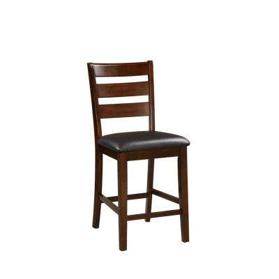Wooden Walnut Brown Counter Height Armless Chair (Set of 2)
