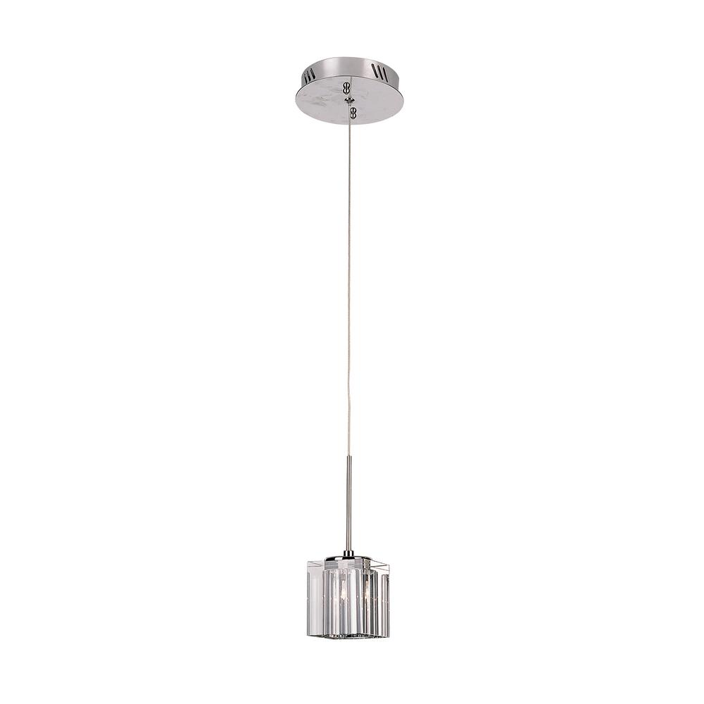 1-Light Polished Chrome Pendant with Crystal Cube Shade