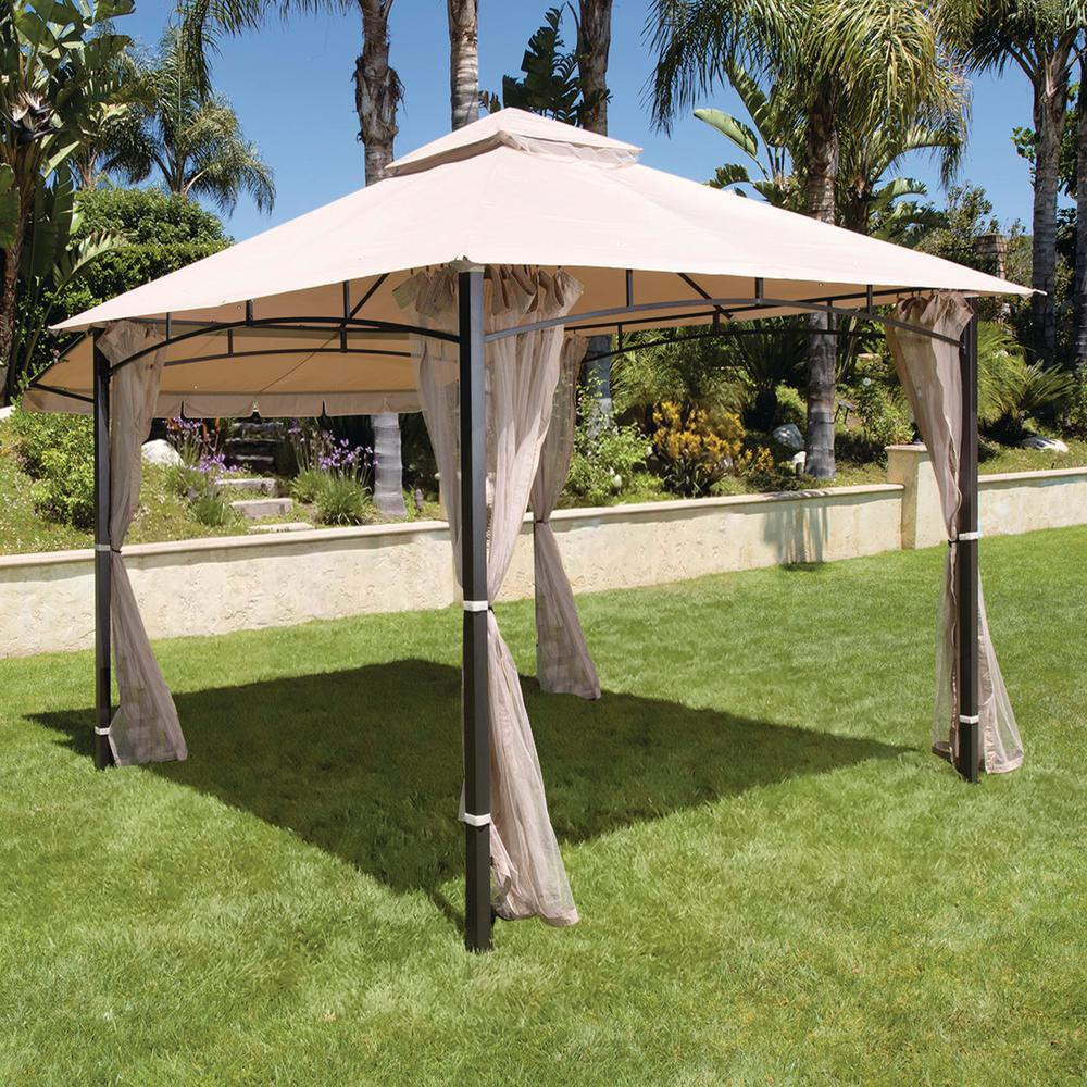 H&ton Bay Santa Maria 13 ft. x 10 ft. Roof Style Replacement Canopy & Hampton Bay Santa Maria 13 ft. x 10 ft. Roof Style Replacement ...