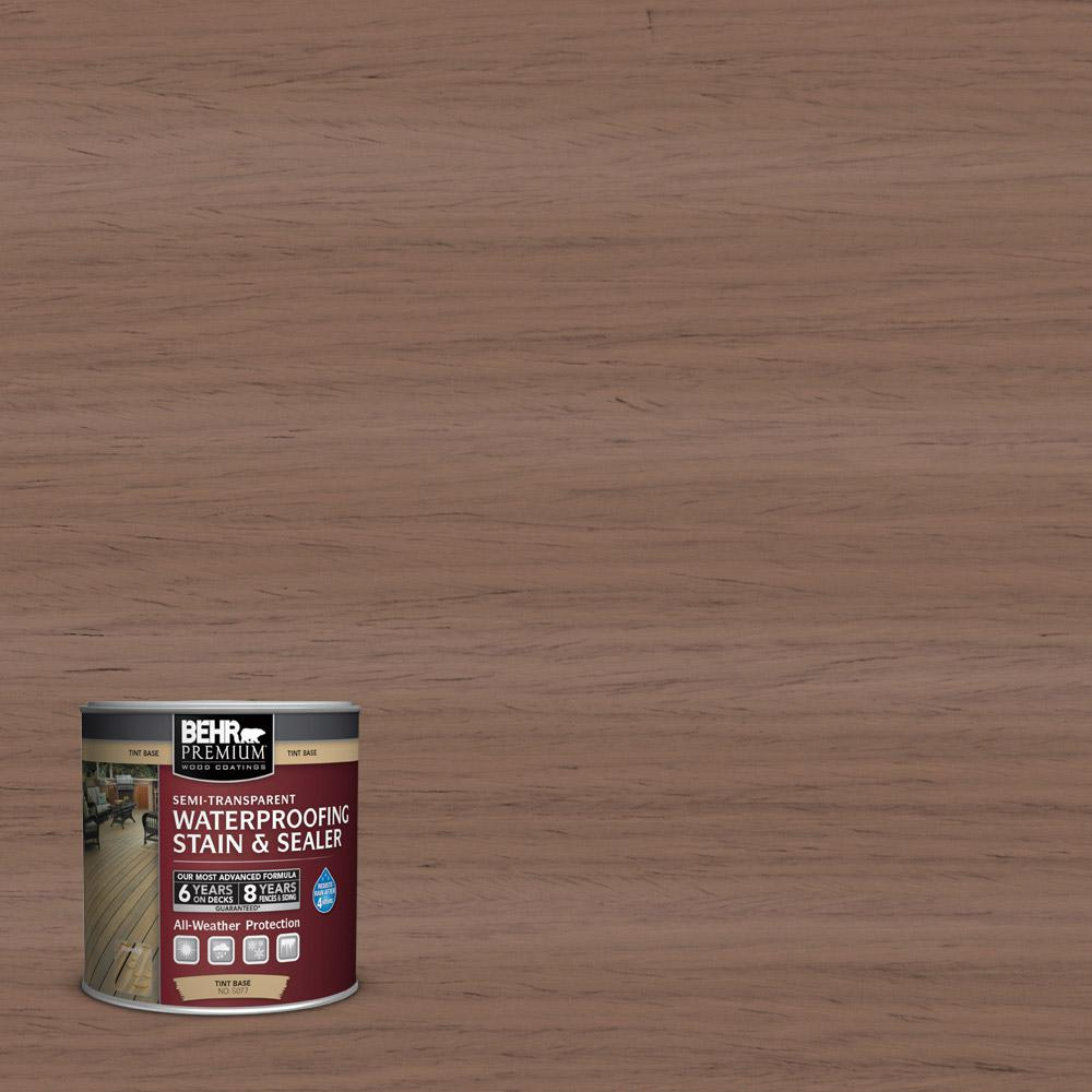 behr premium 8 oz st 148 adobe brown semi transparent waterproofing stain and sealer sample. Black Bedroom Furniture Sets. Home Design Ideas