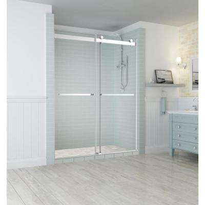 Rivage 56 in. to 60 in. x 76 in. Frameless Sliding Double-Bypass Sliding Shower Door in Stainless Steel