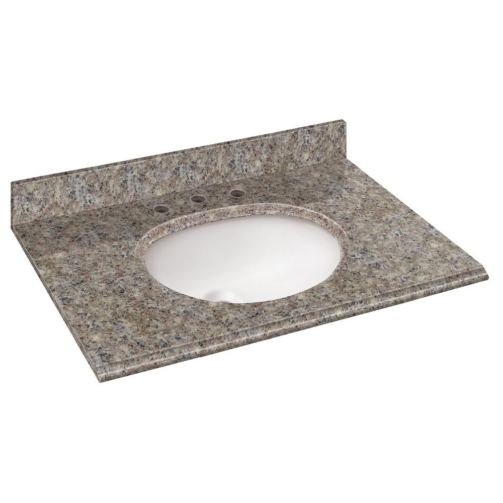 37 in. W Granite Vanity Top in Montero with White Basin