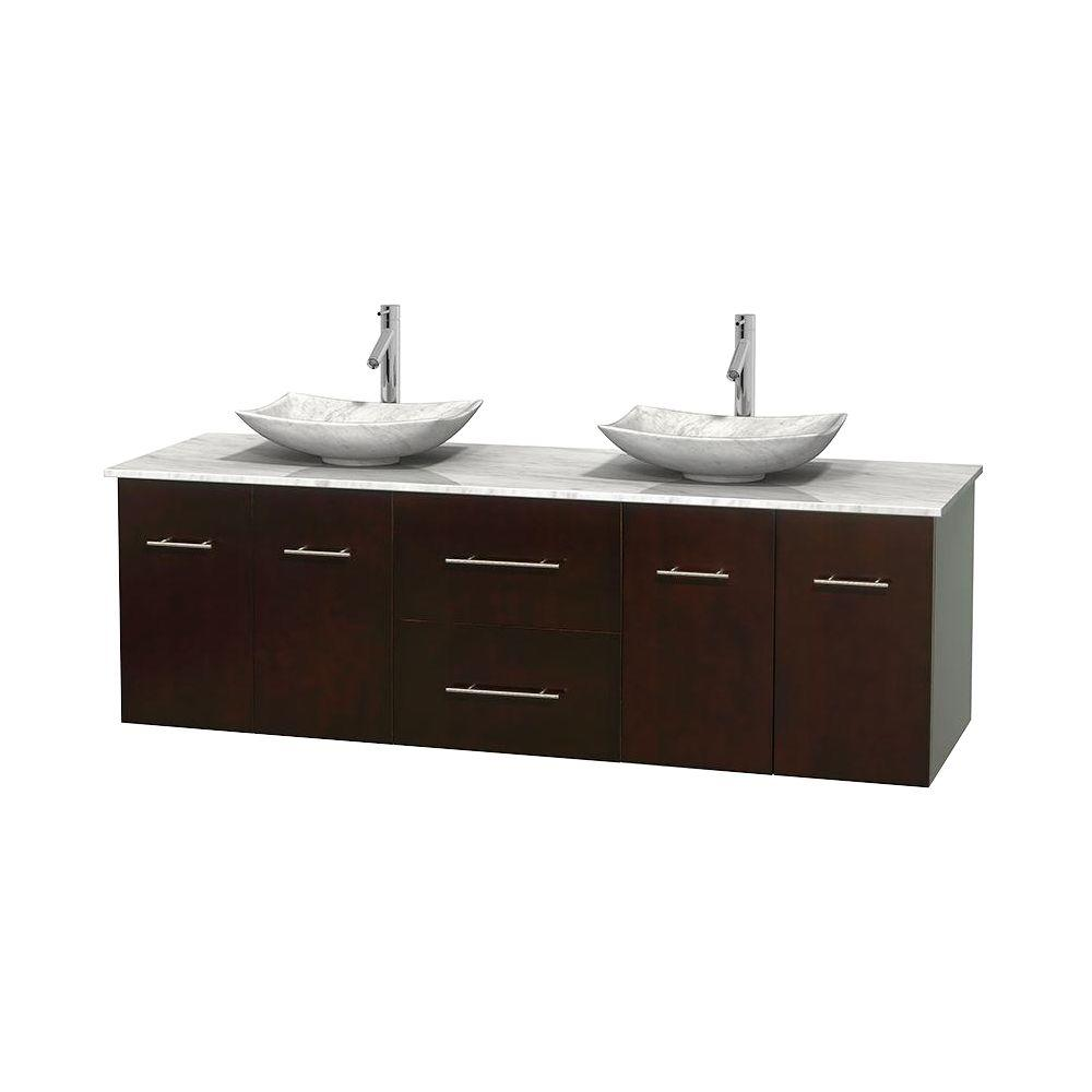 Wyndham Collection Centra 72 In Double Vanity In Espresso With