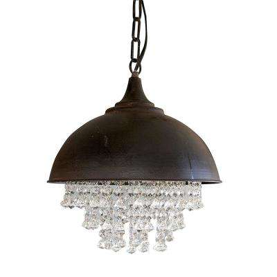Collected Notions 1-Light Black/Crystal Pendant Chandelier