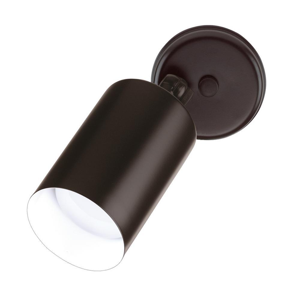 Single Bullet 75-Watt Black Outdoor Wall Mount Cylinder Light