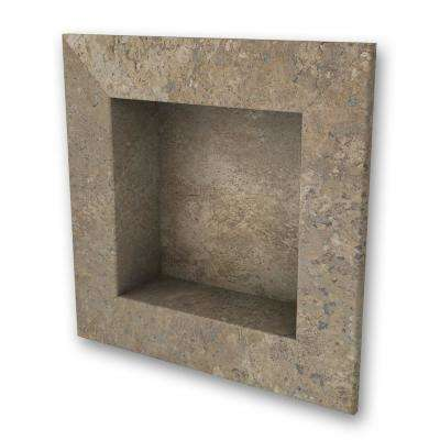 11 in. x 11 in. Square Recessed Shampoo Caddy in Mocha Travertine