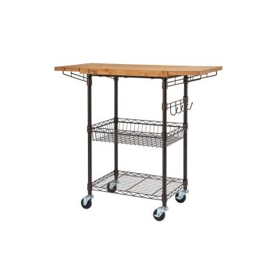 PRO EcoStorage Bronze Anthracite Kitchen Cart with Drop Leaf