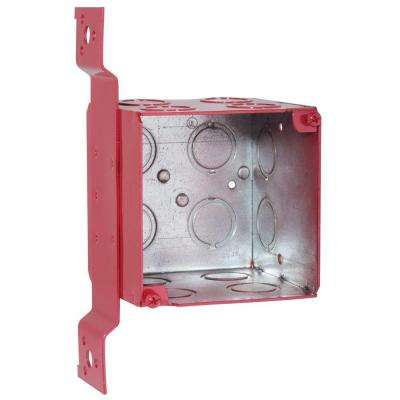 3-3/4 in. Square Welded Box, 3-1/2 Deep with 1/2 and 3/4 in. Concentric KO's and FM Bracket-Life Safety Red (10-Pack)
