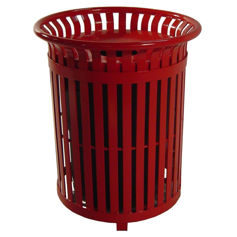 Paris 34 Gal. Red Steel Outdoor Trash Can with Steel Lid ...
