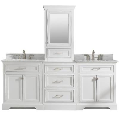 Milano 96 in. W x 22 in. D Bath Vanity in White with Carrara Marble Vanity Top in White with White Basin