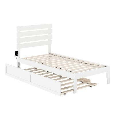 Oxford White Twin Bed with USB Turbo Charger and Twin Trundle