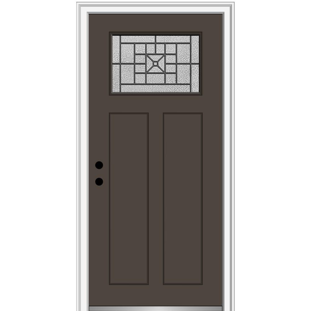 MMI Door 32 in. x 80 in. Courtyard Right-Hand 1-Lite Decorative Craftsman Painted Fiberglass Prehung Front Door, 6-9/16 in. Frame, Brown/Brilliant was $1527.99 now $994.0 (35.0% off)