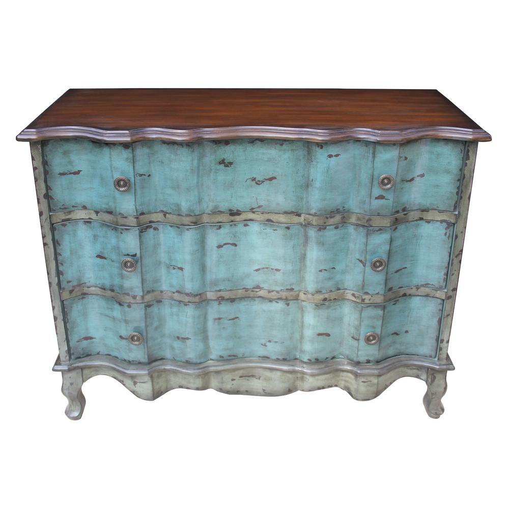 Noble house rainier 3 drawer distressed antique blue accent chest with brown top 295717 the home depot