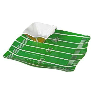 Sports Football 5-Piece Green/White/Brown Melamine Tray with 4 Dip Bowls Set